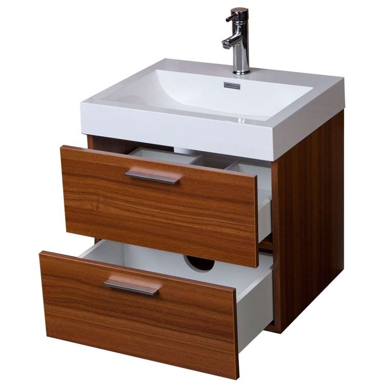 22 75  Single Bathroom Vanity Set in Grey Oak TN T580 TK. Modern Floating Bathroom Vanity Teak Two Drawers Free Shipping TN