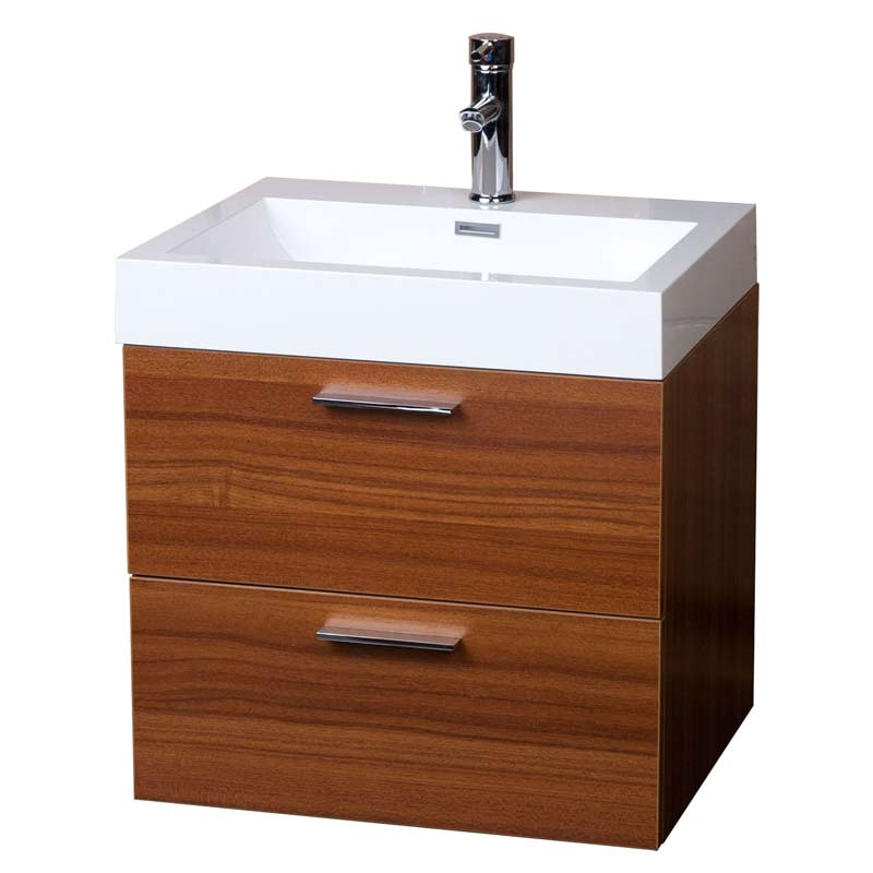 Modern floating bathroom vanity teak two drawers free Floating bathroom vanity