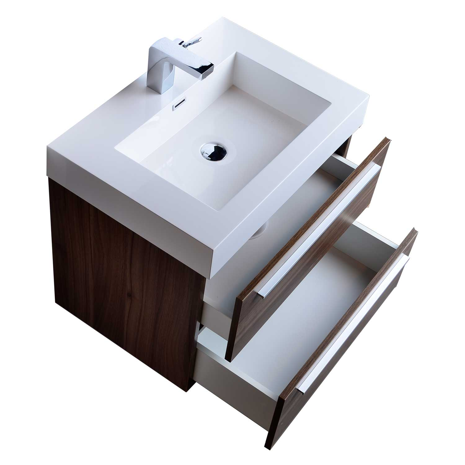 "27 Inch Bathroom Vanities: 26.75"" Single Bathroom Vanity Set In Walnut TN-T690-WN On"