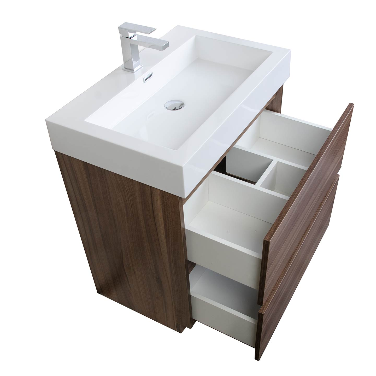 Contemporary Bathroom Vanity Set In Walnut Optional MirrorTN - 30 inch contemporary bathroom vanity