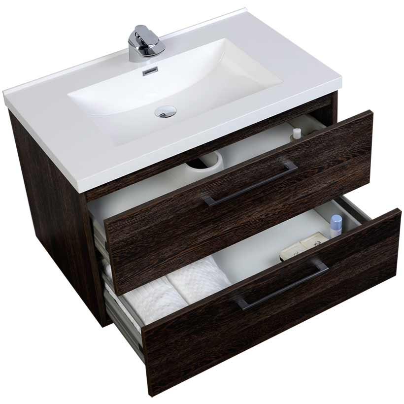 33 5 wall mount contemporary bathroom vanity set dark oak for Bathroom cabinets 33