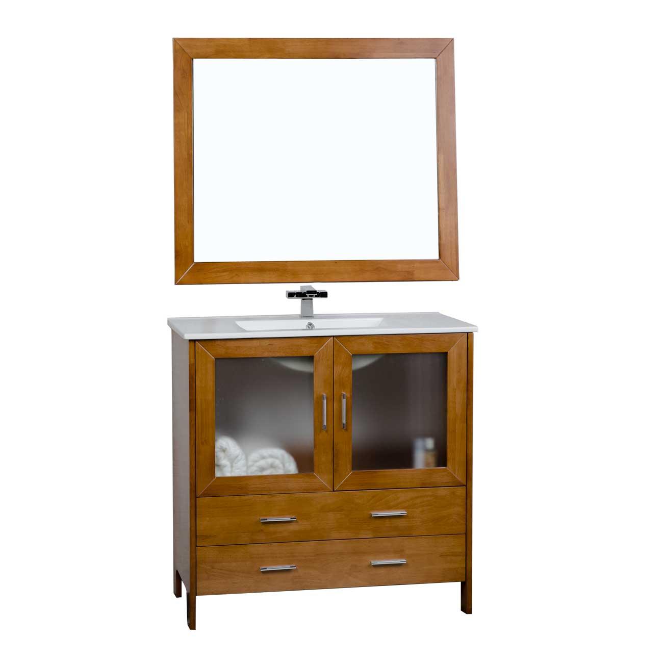 Virtu usa 35 5 single bathroom vanity set in natural oak for Oak bathroom vanity