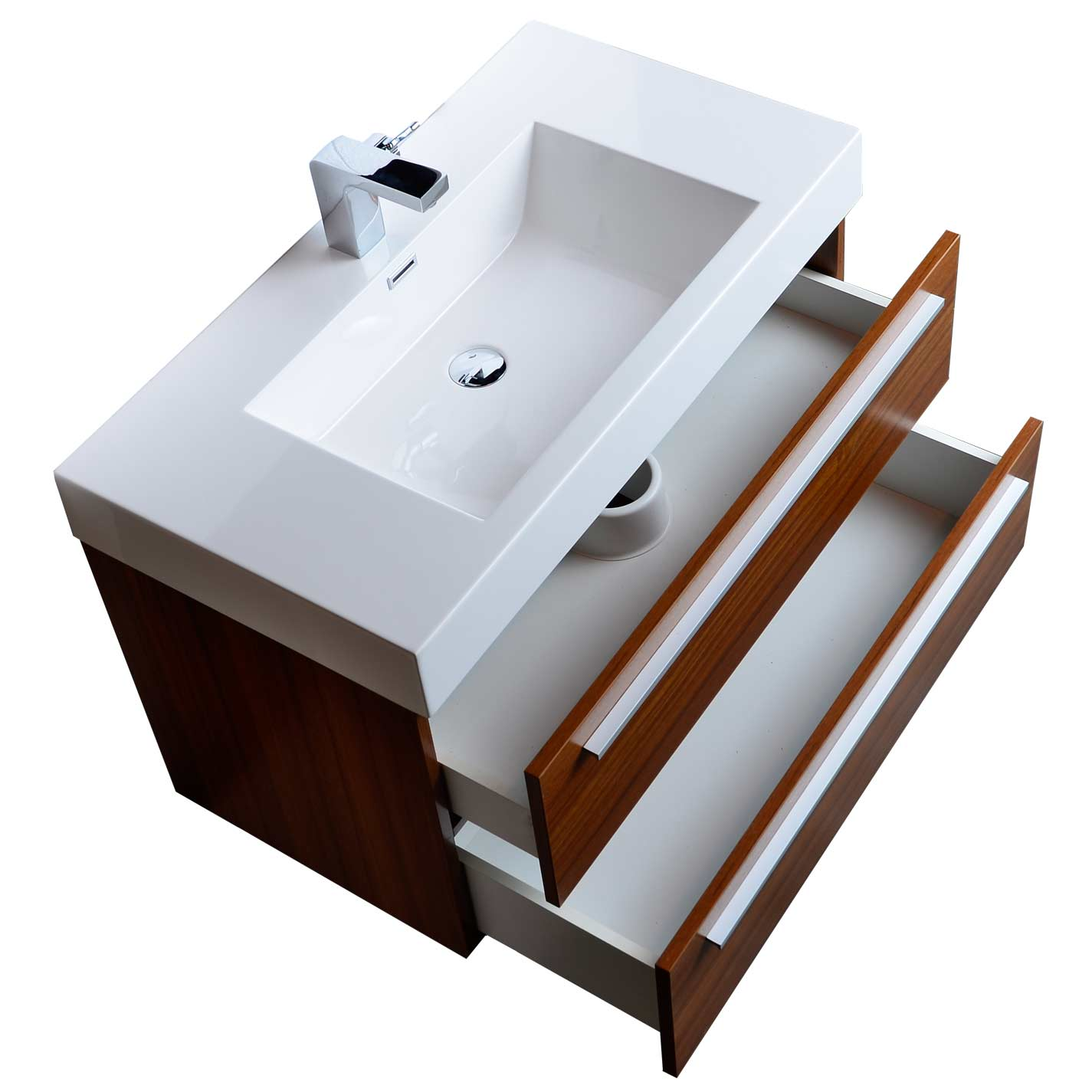 WallMount Contemporary Bathroom Vanity Teak TNMTK - Wall mount vanities for bathrooms