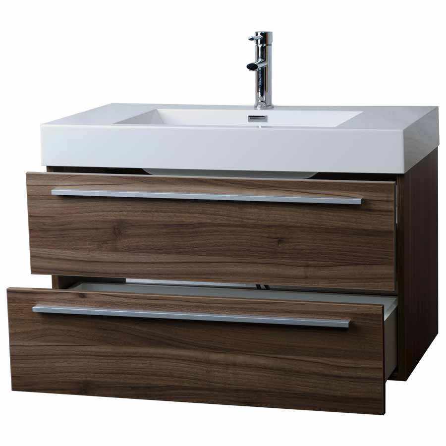 contemporary bathroom vanity. 35 5  Wall Mount Contemporary Bathroom Vanity Walnut TN M900 WN Free Shipping