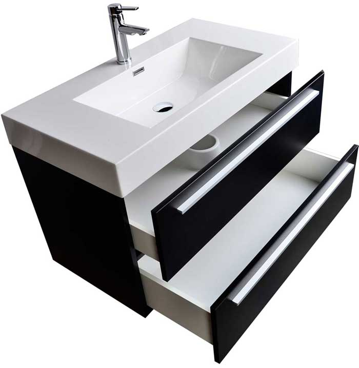 Contemporary Bathroom Vanities 36 Inch wall-mount contemporary bathroom vanity black tn-m900-bk