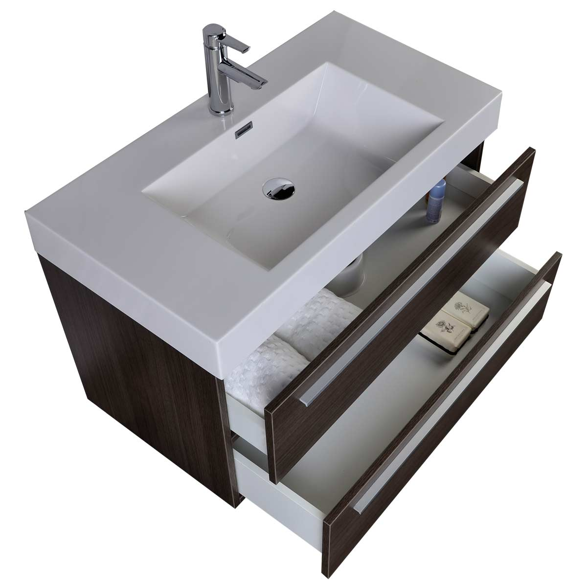 "Contemporary Bathroom Vanities 36 Inch 35.5"" modern bathroom vanity grey oak wall-mount free shipping tn"