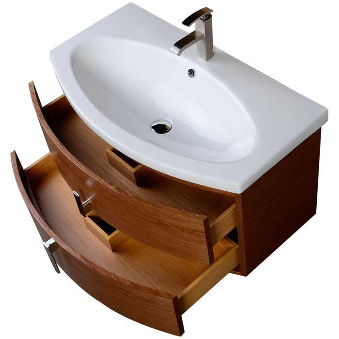 35 75 Bathroom Vanity With Double Drawer Walnut Wood Vm V17025 Wnw