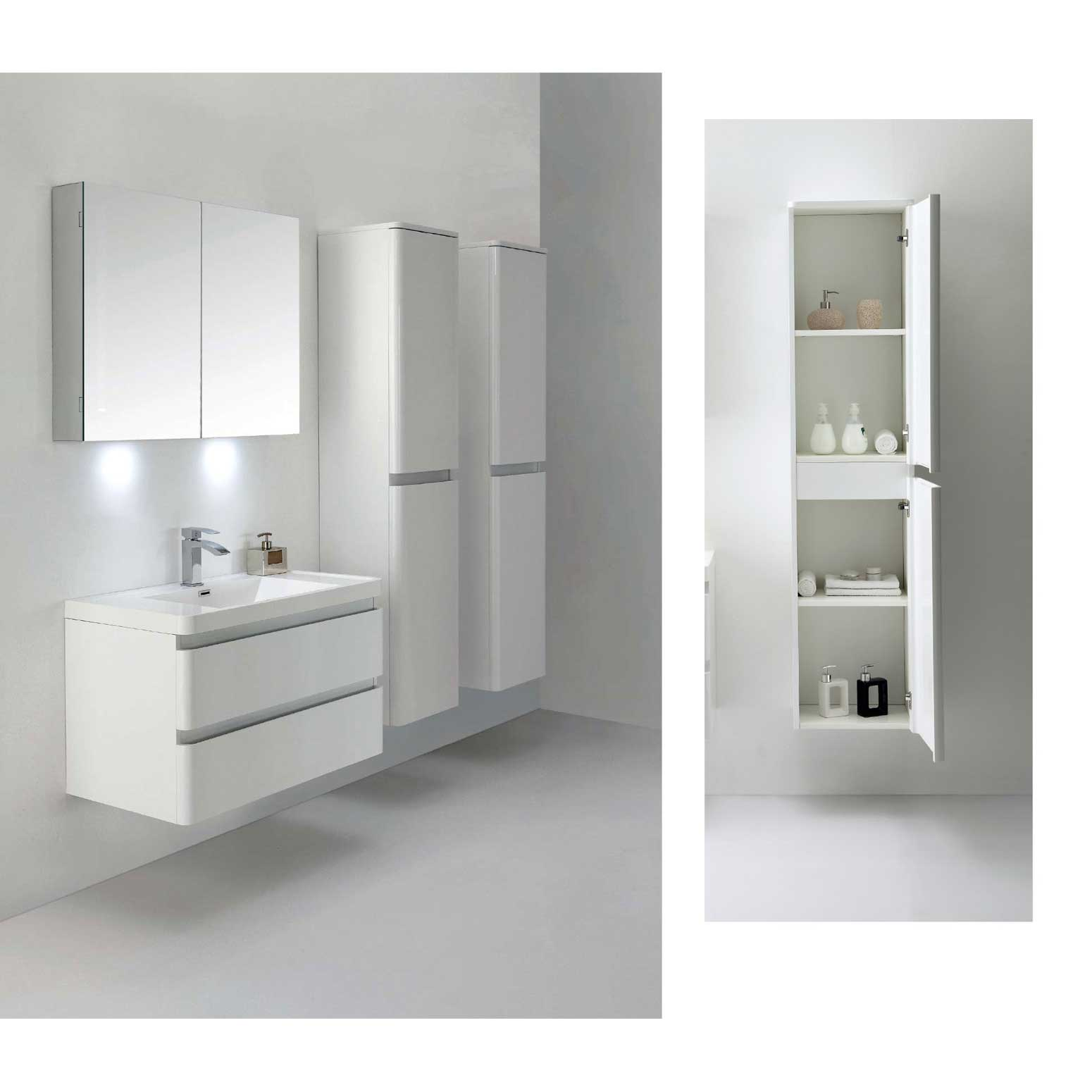 Amaral 35 5 Wall Mount Bathroom Vanity High Glossy White Tn G900 Hgw Free