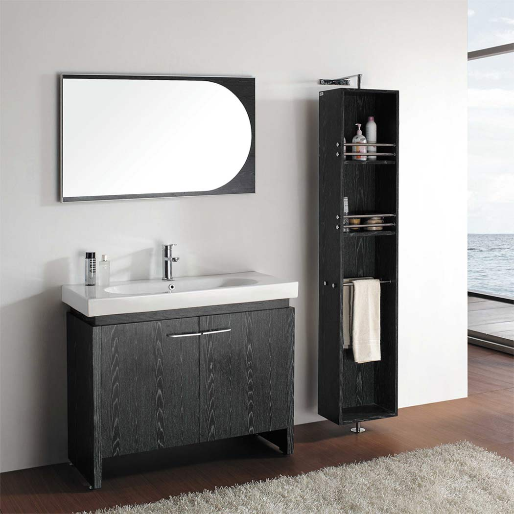 40 black oak single bathroom vanity emperia vm v12041 bok for Bathroom cabinet designs photos