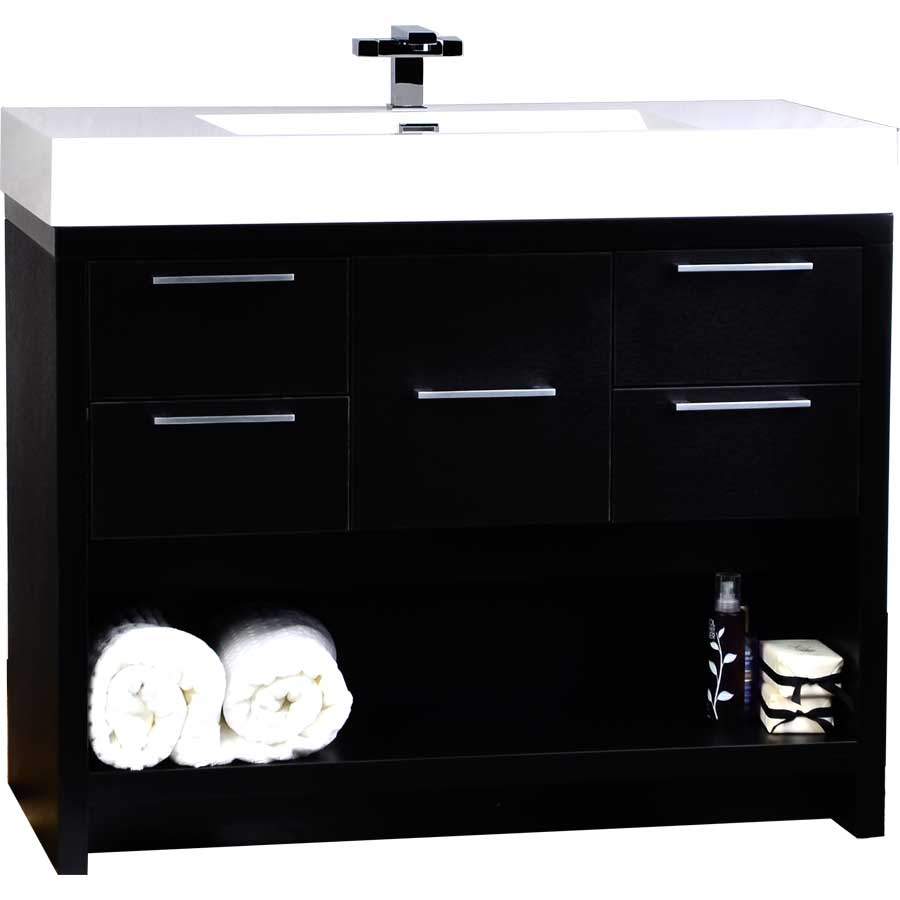 40 inch modern bathroom vanity set in black tn l1000 bk Bathroom sink cabinets modern