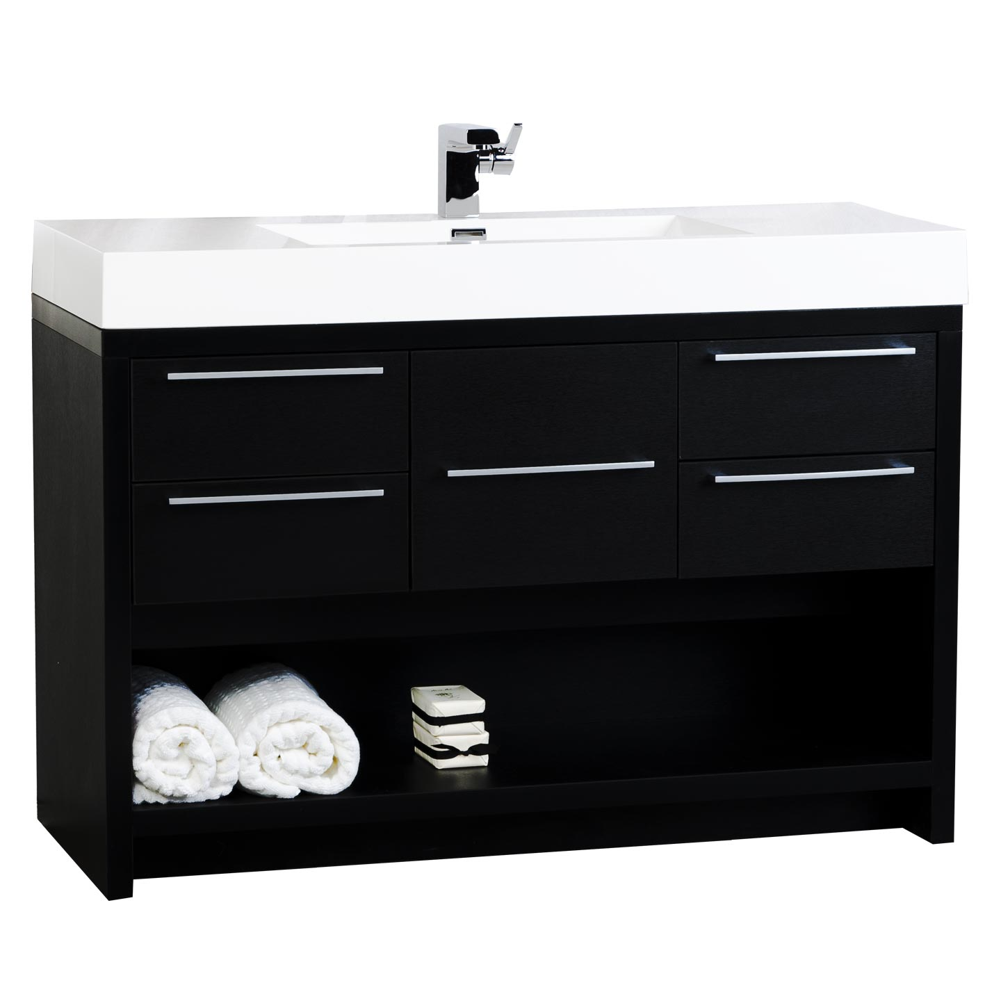 47quot; Modern Bathroom Vanity Set Black Finish TNL1200BK  Conceptbaths