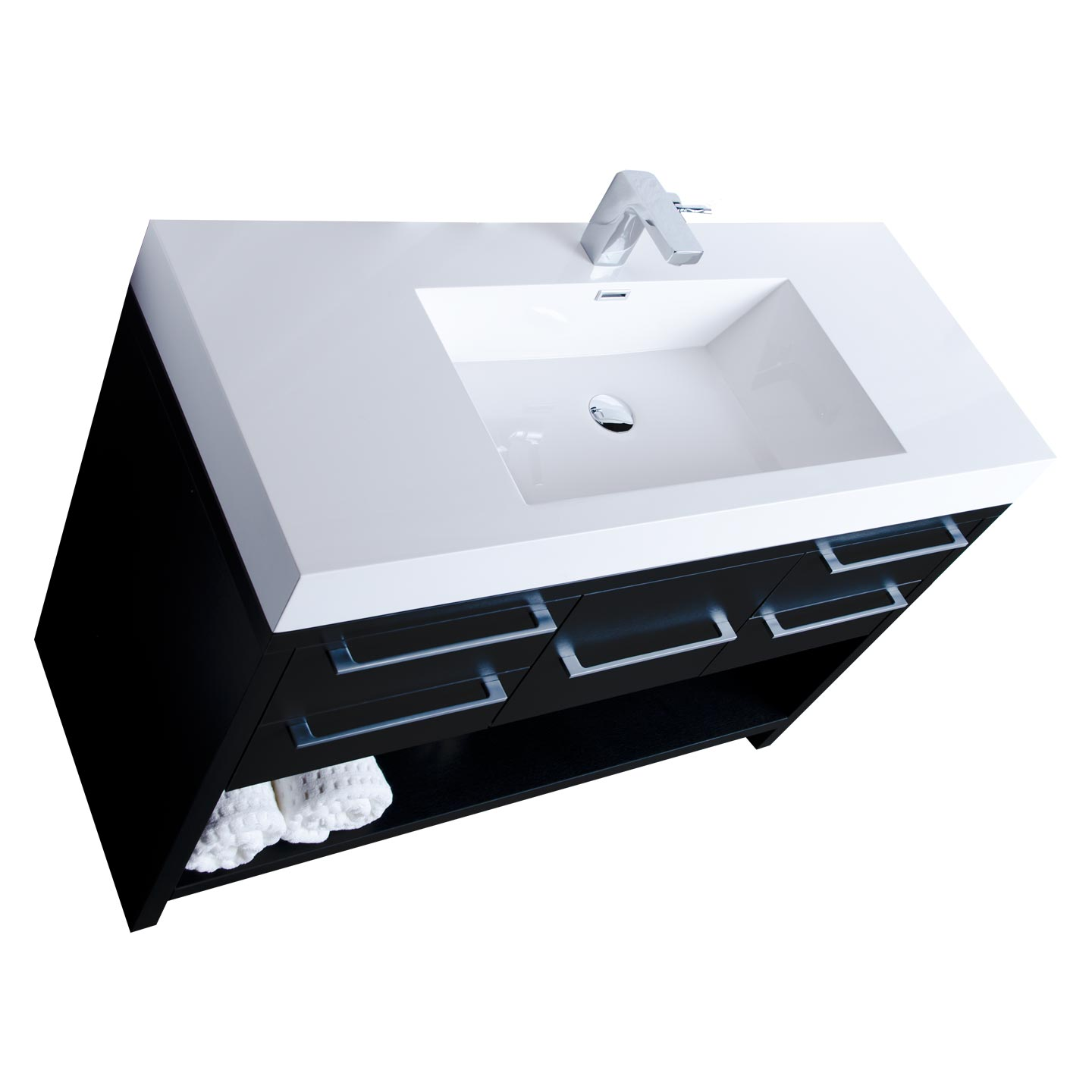 47 modern bathroom vanity set black finish tn l1200 bk for Bath and vanity set