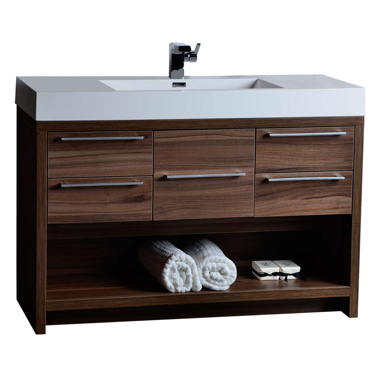 47 Modern Bathroom Vanity Set Walnut Finish Tn L1200 Wn