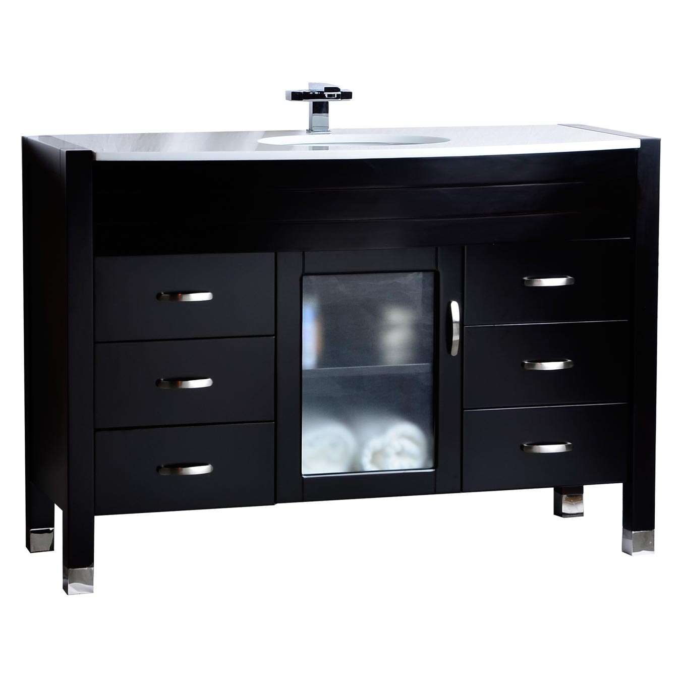 48 Single Vanity With White Stone Counter Top Solid Dark Wood Espress