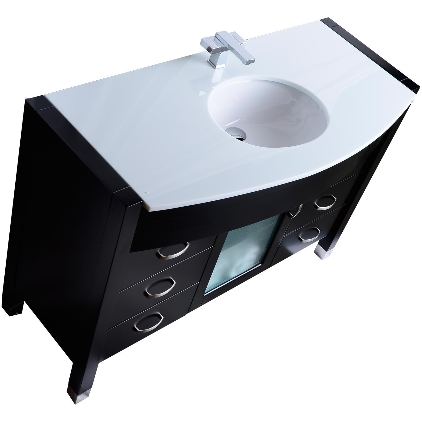 """48"""" single vanity with white stone counter top solid dark wood"""