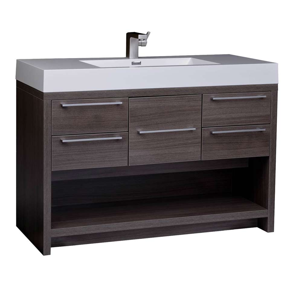 47 modern wall mount bathroom vanity set grey oak free for Bathroom vanities