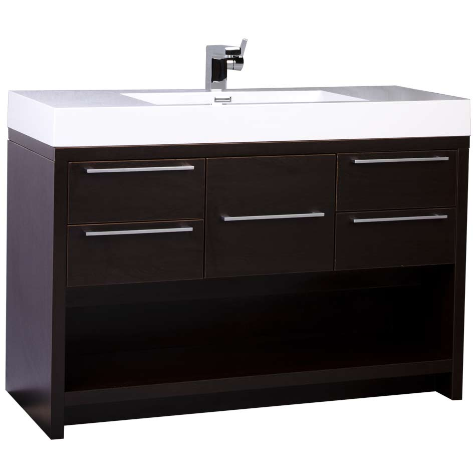 47 modern bathroom vanity set espresso finish tn l1200 wg for Bathroom 48 inch vanity