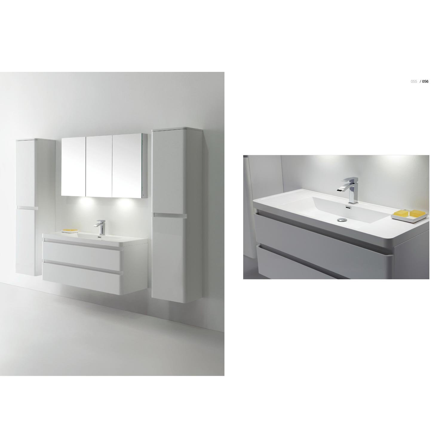 Amaral wall mount bathroom vanity high glossy white for Bathroom wall vanity cabinets