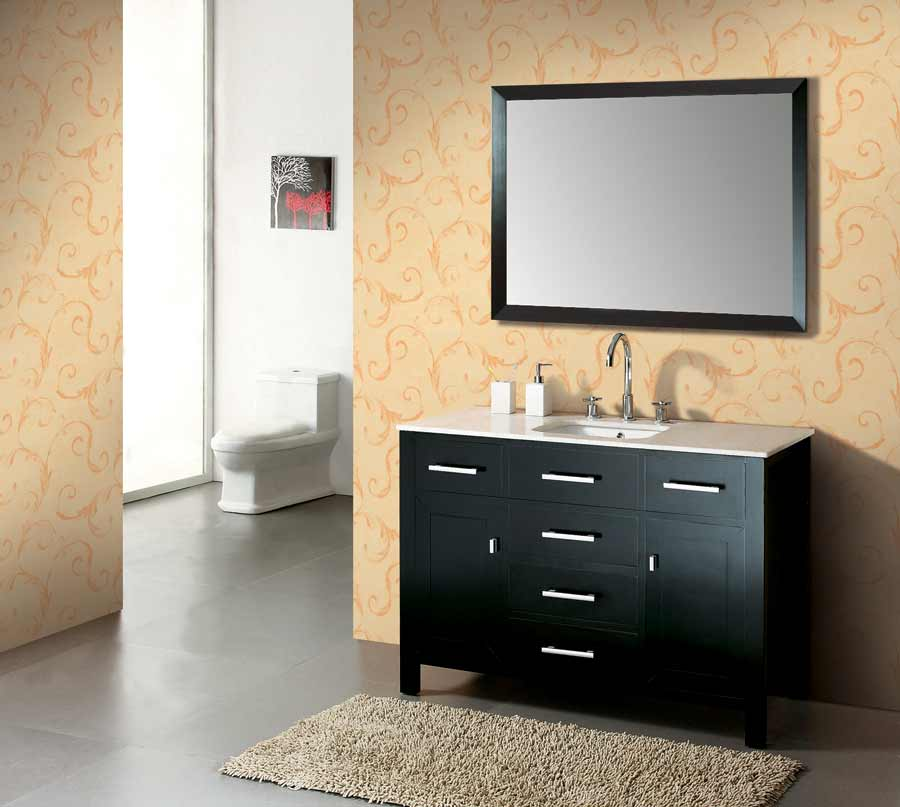 single sink bathroom vanity with top. 47 5  Single Sink Solid Wood Vanity With White Stone Countertop Espresso AG X016 Bathroom Set Dark Top