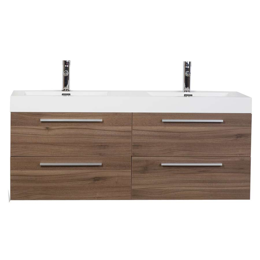Double Bathroom Vanity Set With Drawers In Walnut Tn B1380 Wn