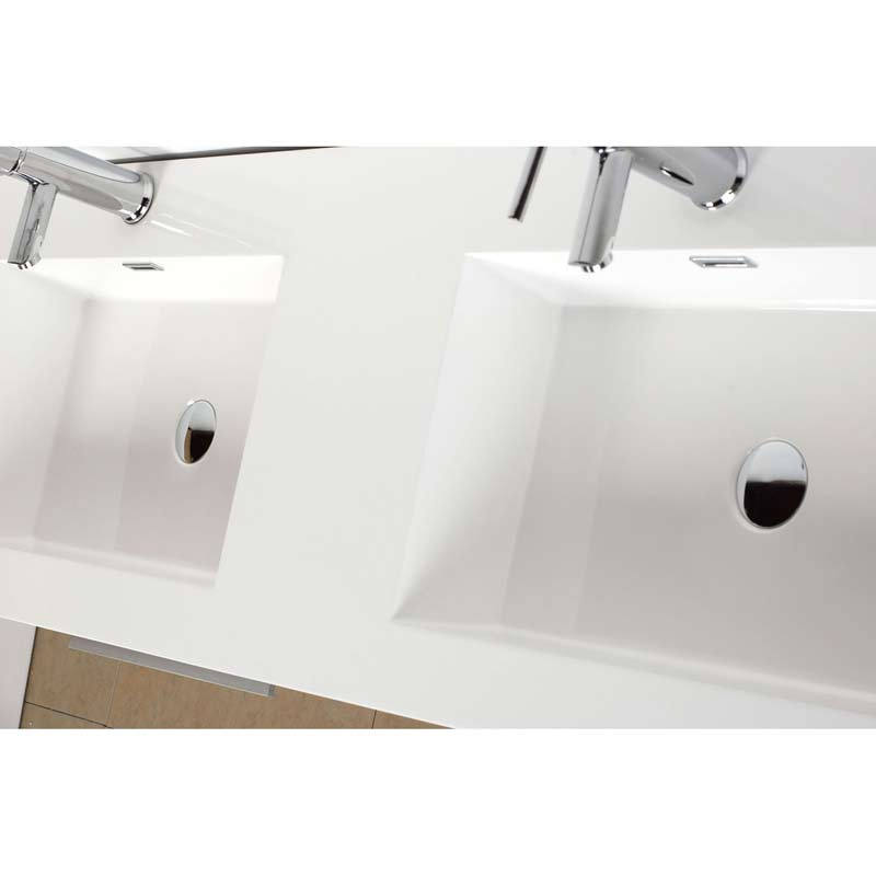 Double Bathroom Vanity Set With Drawers In Walnut TNBWN - 54 vanity double sink
