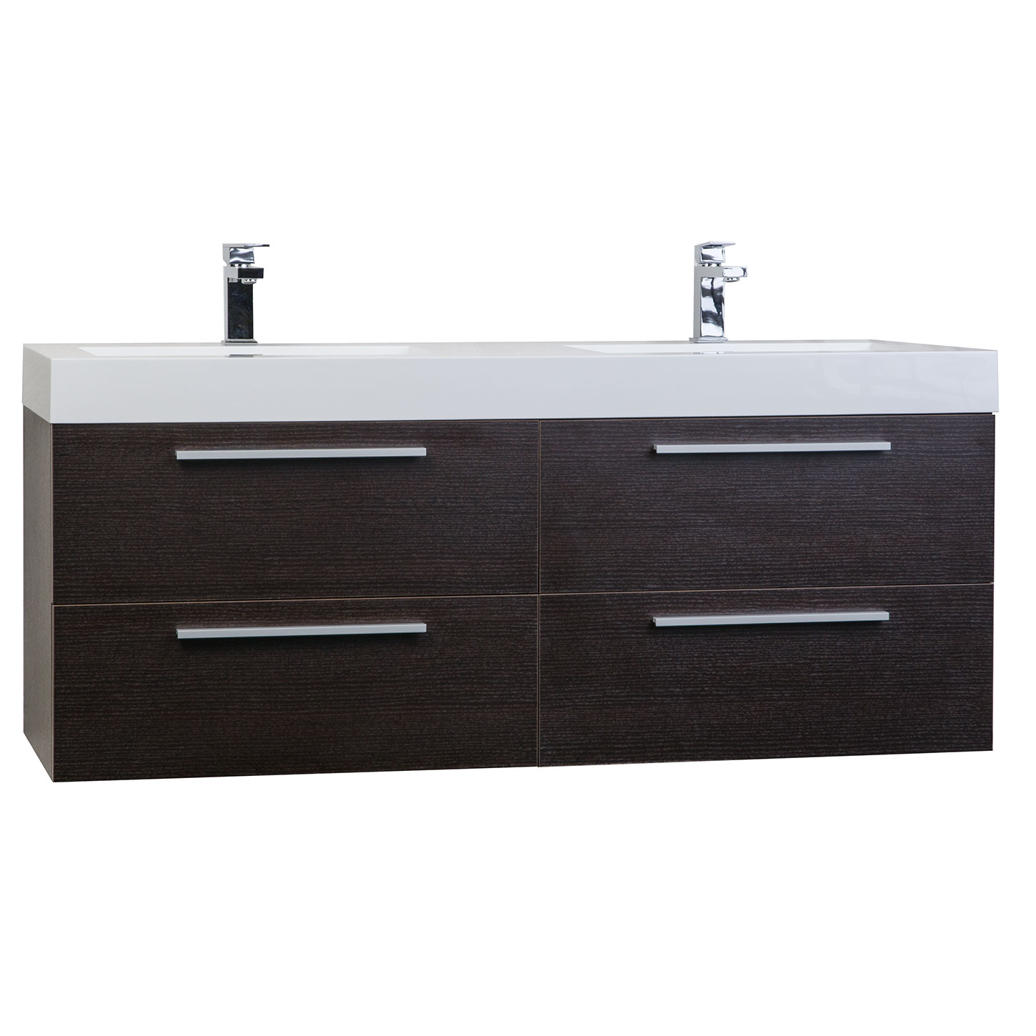 54 modern double sink vanity set in espresso tn b1380 wg - Contemporary double sink bathroom vanity ...