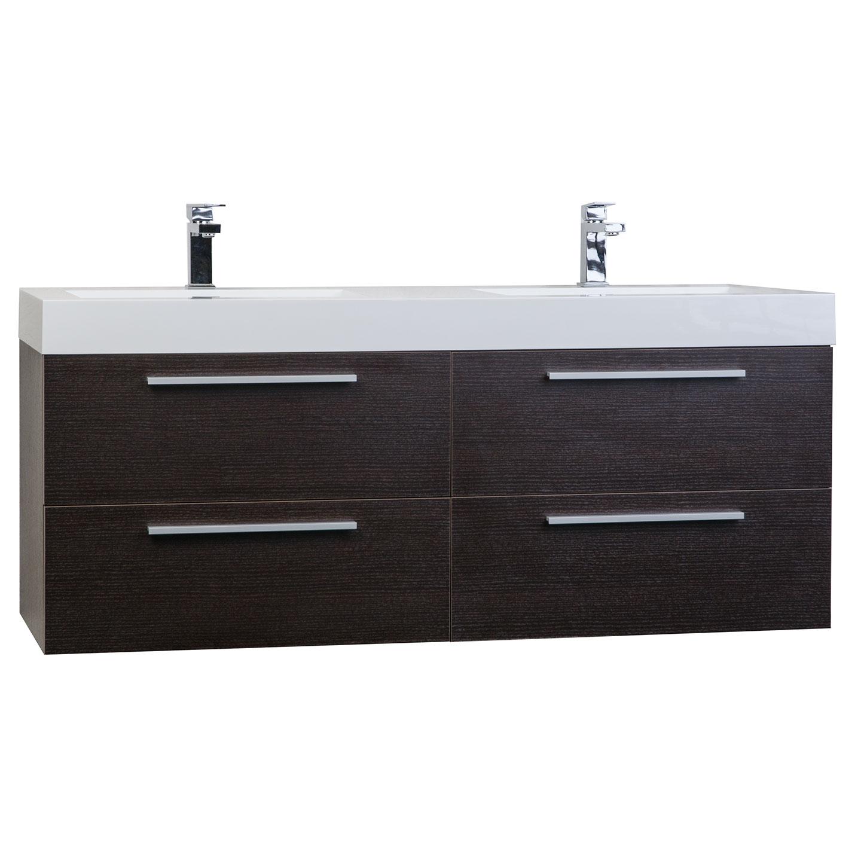 54 modern double sink vanity set in espresso tn b1380 wg for Modern double sink bathroom vanity
