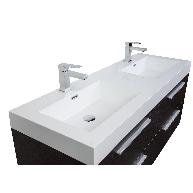 54 modern double sink vanity set in espresso tn b1380 wg - Espresso double sink bathroom vanity ...