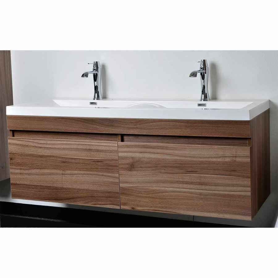 57 modern double sink vanity set with wavy sinks in walnut tn a1440
