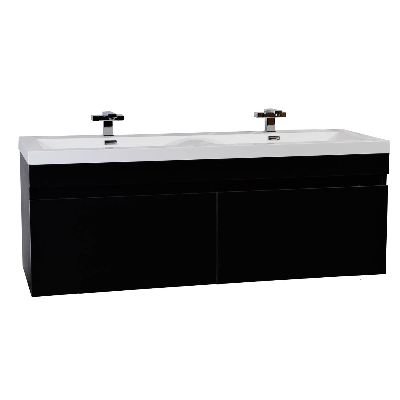 57 Modern Double Sink Vanity Set With Wavy Sinks Black TN A1440 BK