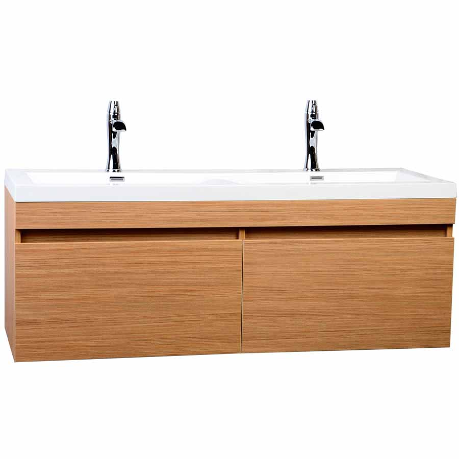 57  Double sink Vanity with Large Drawers Wavy Sinks   Light Teak  TN A1440 PT. 57  Double sink Modern Bathroom Vanity Wavy Sinks Light Teak TN