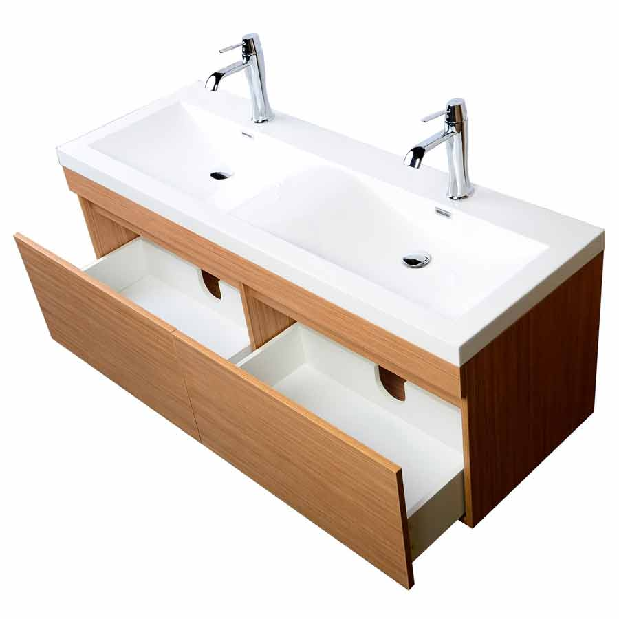 57 Inch Double Sink Vanity With Large Drawers Wavy Sinks   Light Teak  TN A1440 PT