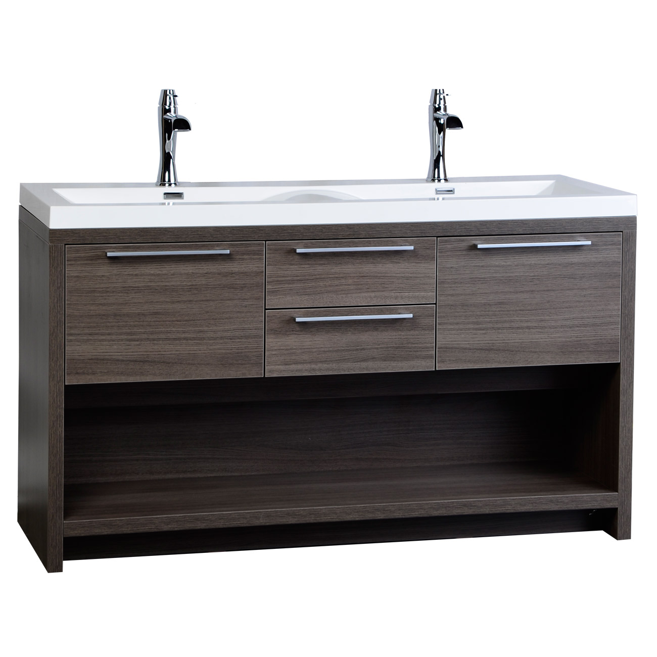 57 Contemporary Double Vanity Set With Wavy Sink Grey Oak