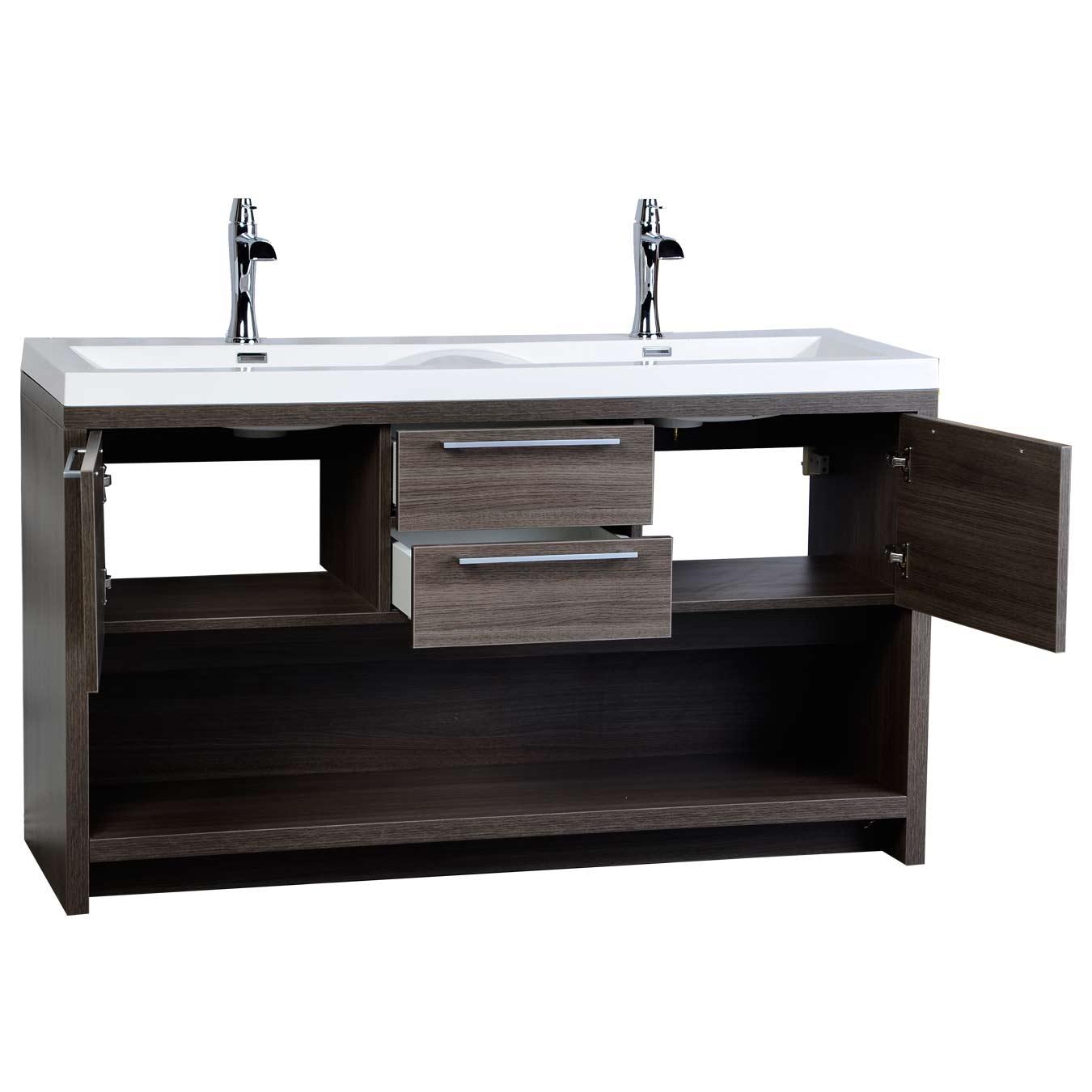 57 Contemporary Double Vanity Set With Wavy Sink Grey Oak Tn F1440 Go