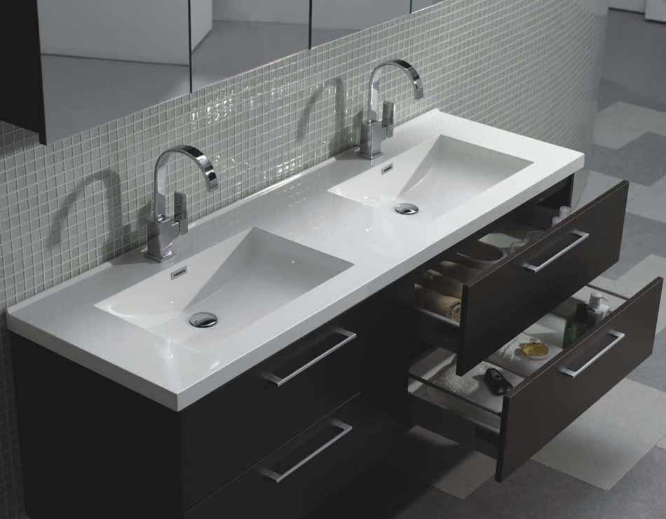 "Modern Bathroom Vanity Sink 67"" modern wall-mount bathroom vanity double sink tn-a1710-wg"