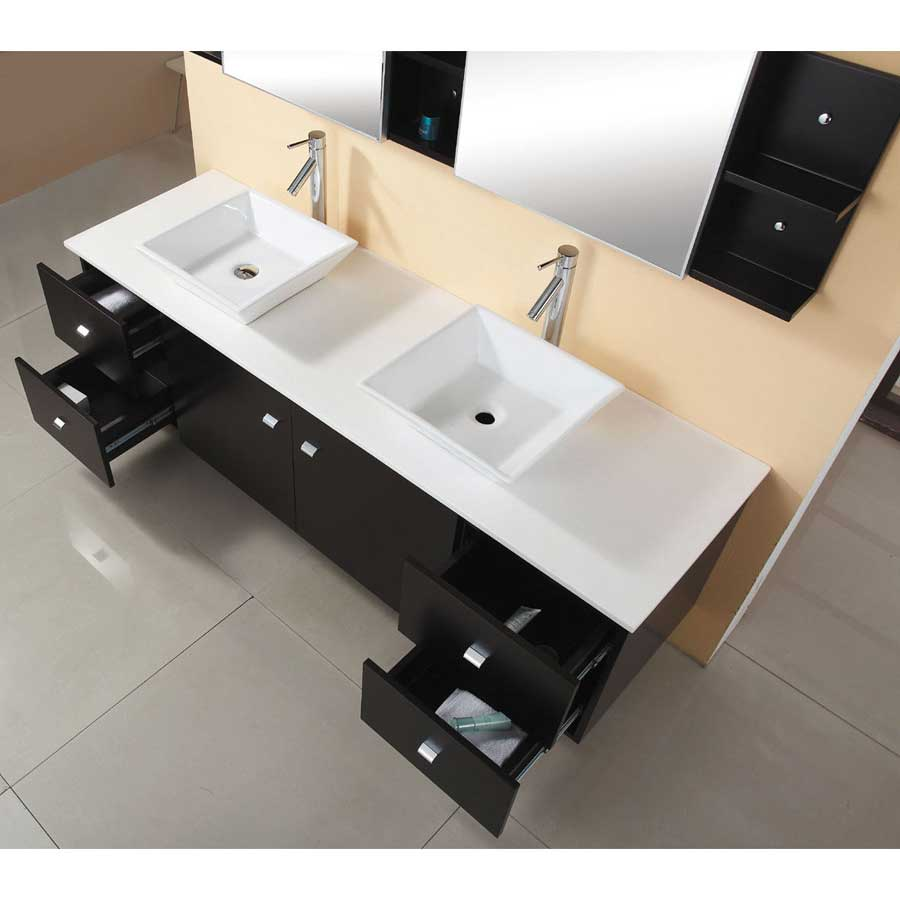 72 Double Sink Bathroom Vanity silkroad exclusive 72 inch ...