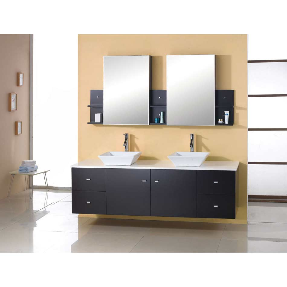 72  Solid Oak Dark Espresso Double Sink Vanity AG X027 Virtu Bathroom Wood