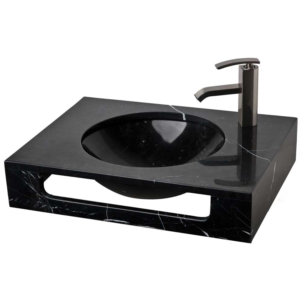 Wall Mount Vanity Black Marquine Natural Stone Sink LM T086BM