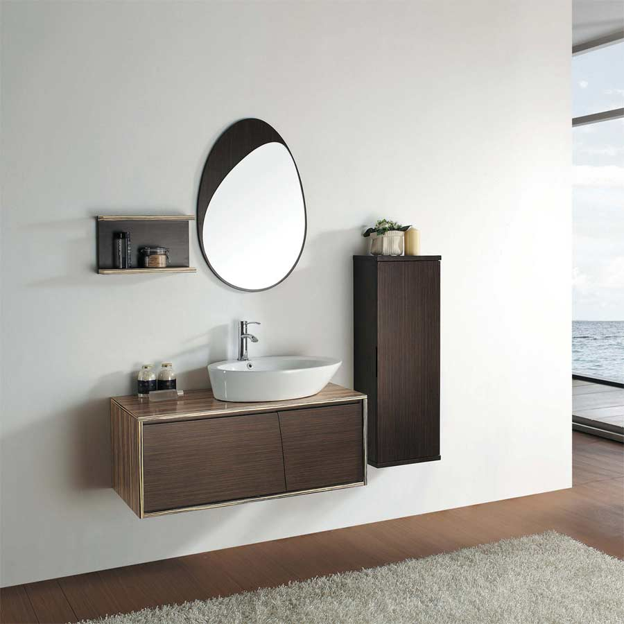 39 25  Utral Modern Bathroom Vanity Set Green Teak Iron Wood Finished VM V11015 Solid Vessel Sink