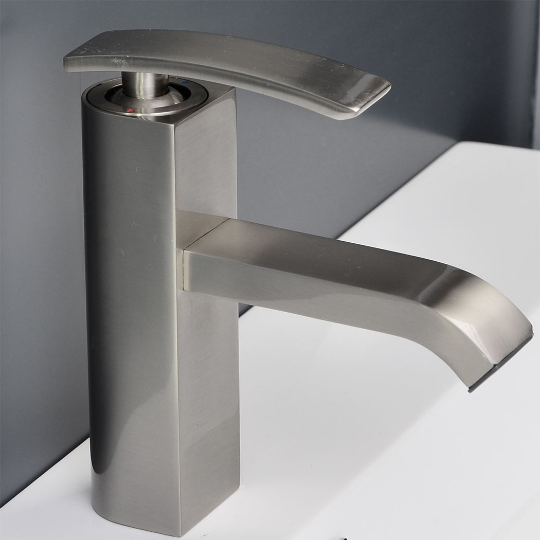 cbi ouli single hole bathroom faucet in brushed nickel m11001081b