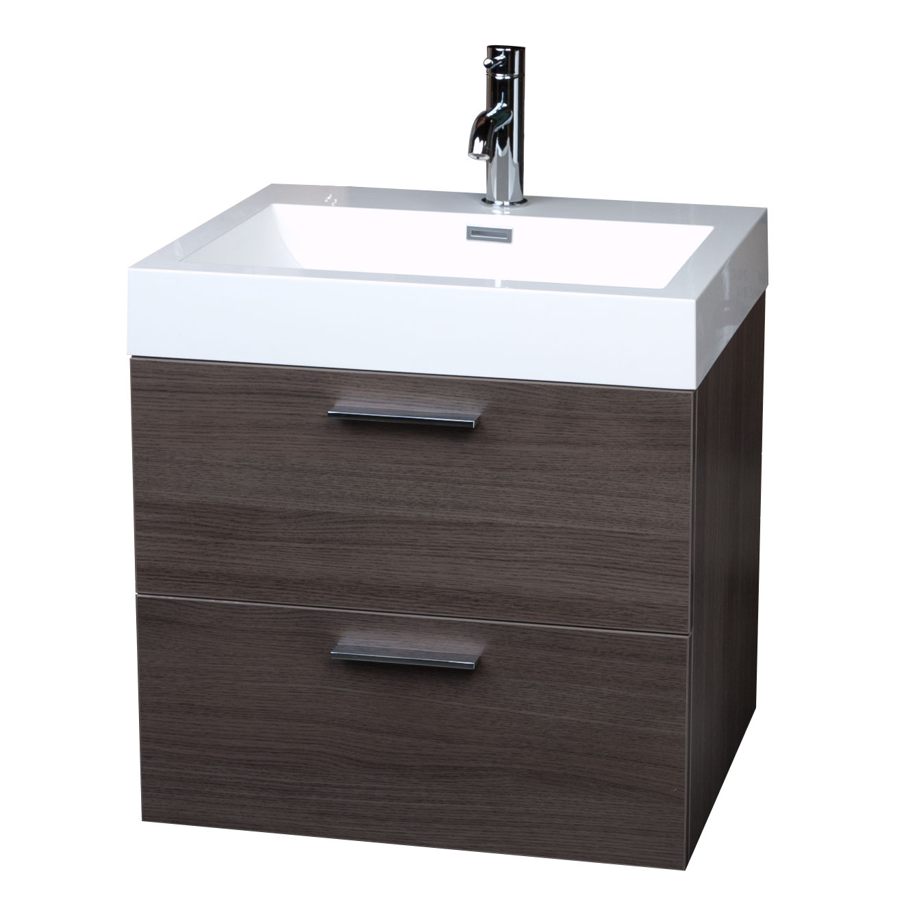 European styled single bathroom vanity set in grey oak for Single bathroom vanity