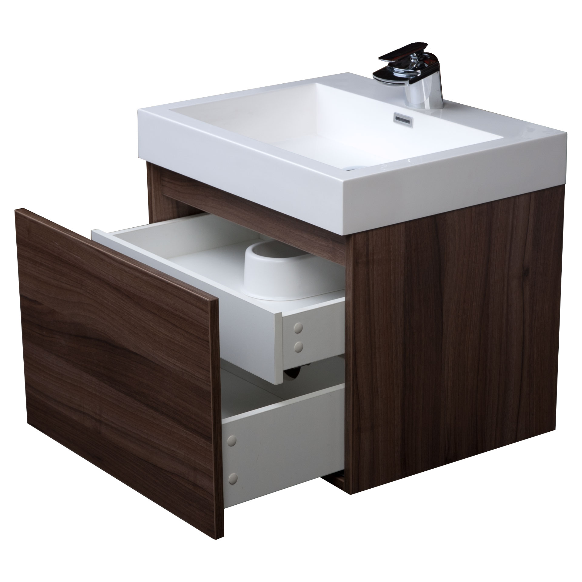 Modern single bathroom vanity with drawer walnut tn a600 - Bathroom vanity with drawers on left ...