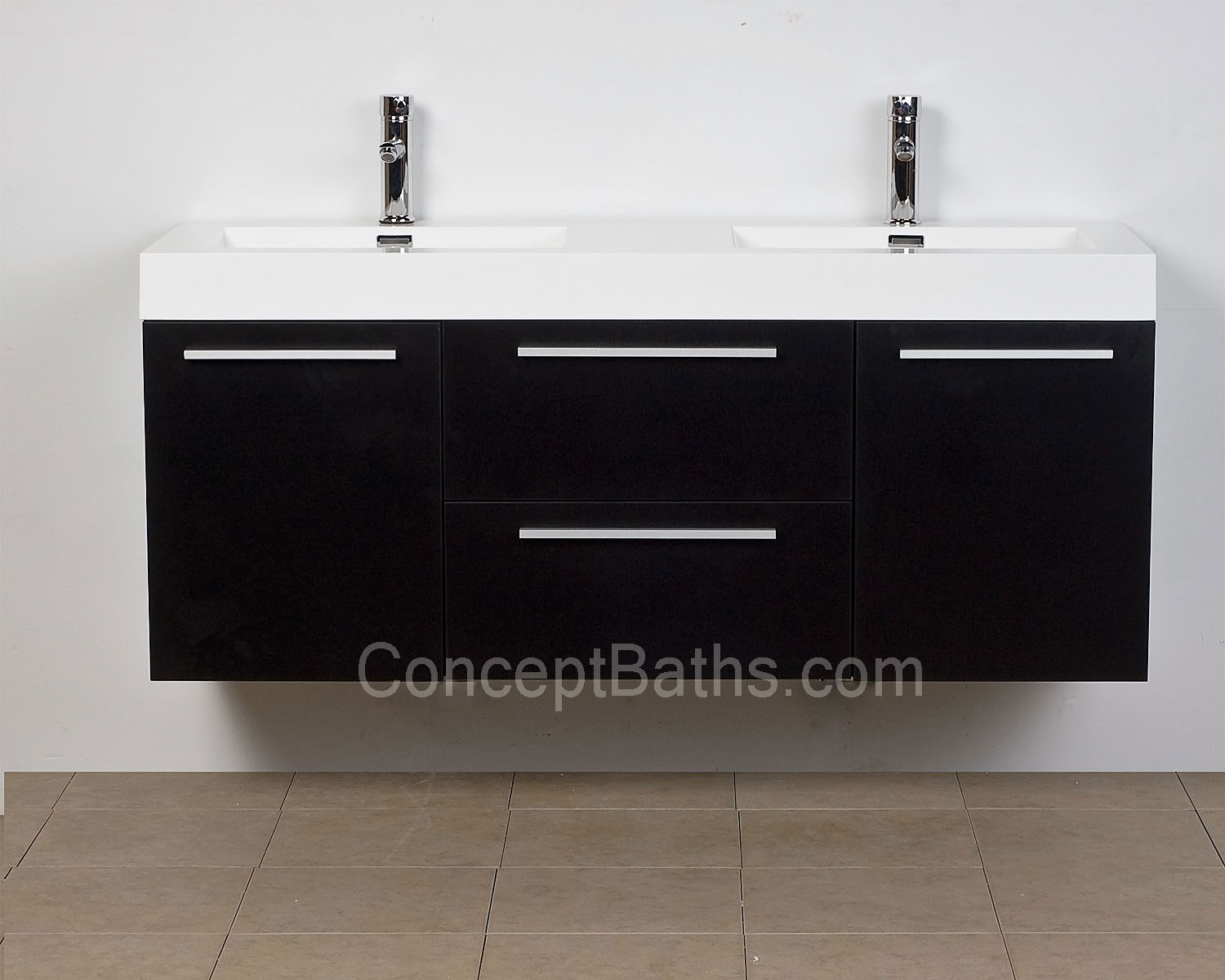 Modern Bathroom Vanity Wallmounted Dark Finish TNTBK - 54 vanity double sink