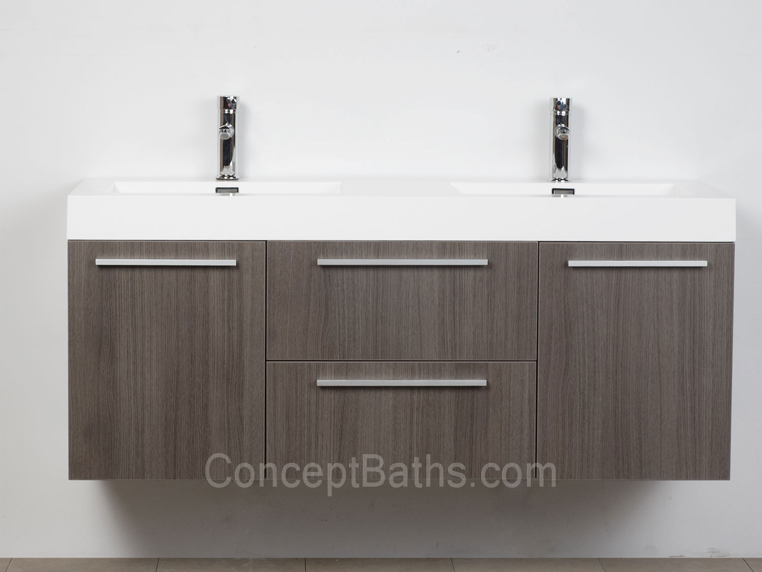 Wall mounted double modern bathroom vanity grey oak tn t1380 go - Modern bathroom vanity double sink ...