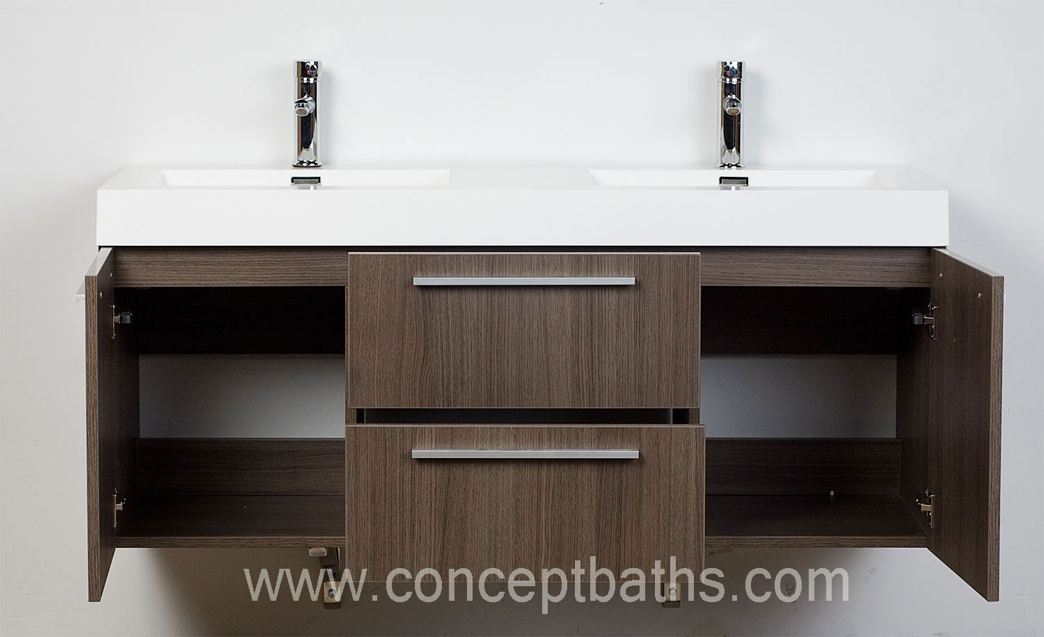 Wall Mounted Double Modern Bathroom Vanity Grey Oak TN T1380 GO Conceptbath