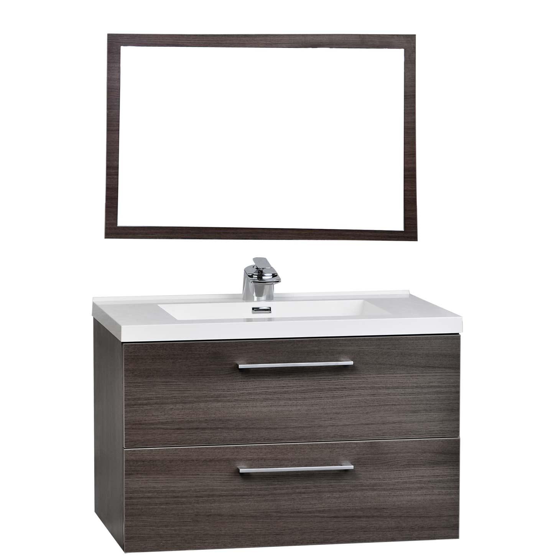 33 5 wall mount contemporary bathroom vanity mirror set - Contemporary bathroom vanity sets ...