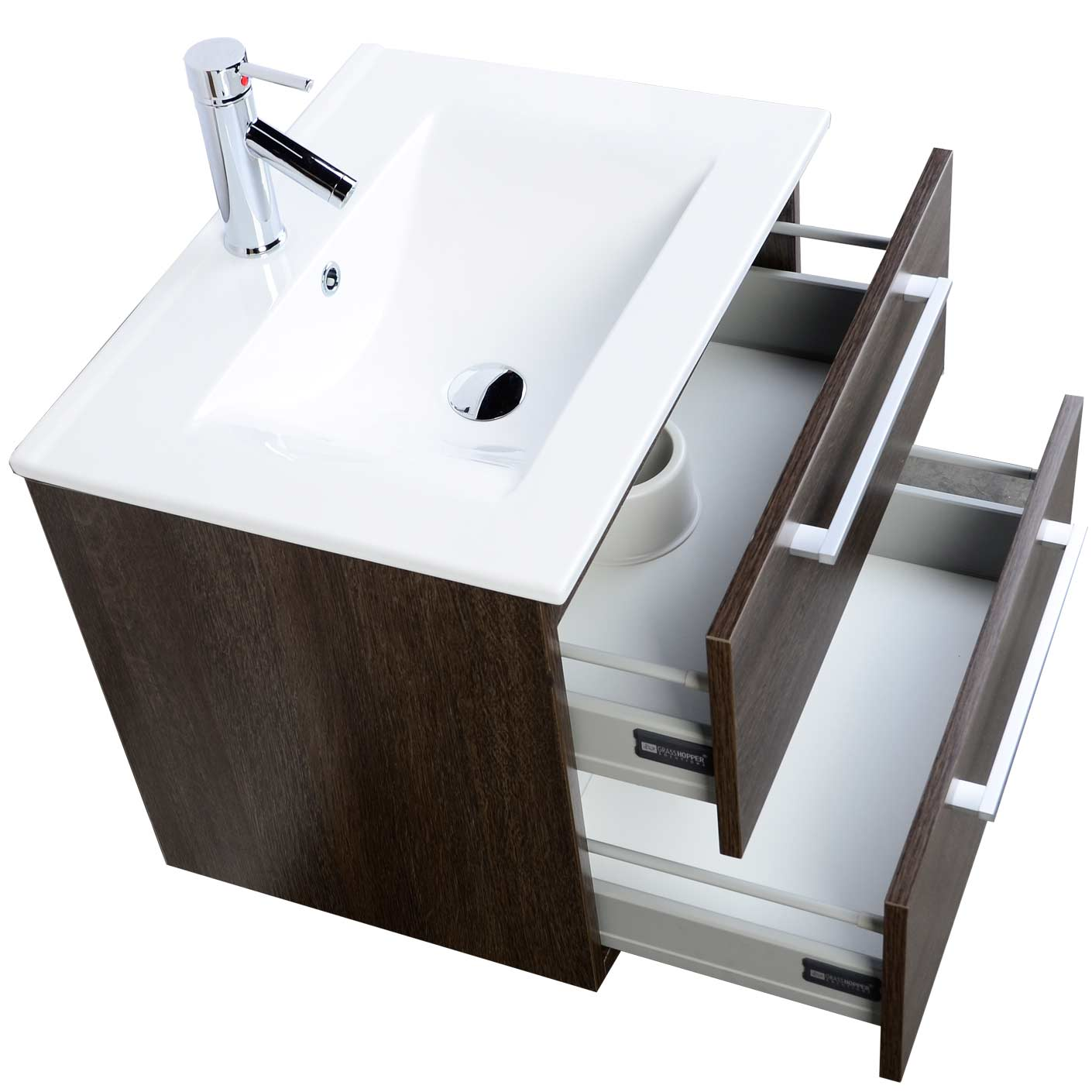 "european styled caen 23.5"" single bathroom vanity set in alamo oak"