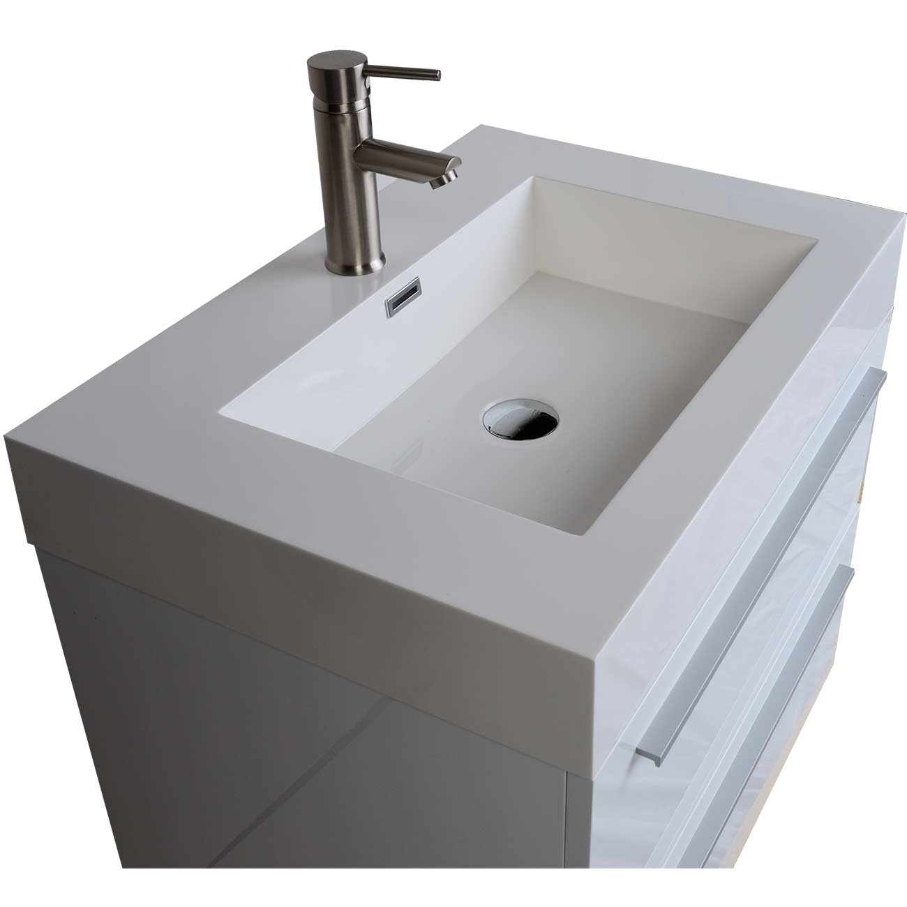 Buy in single bathroom vanity set in high gloss for Restroom vanity