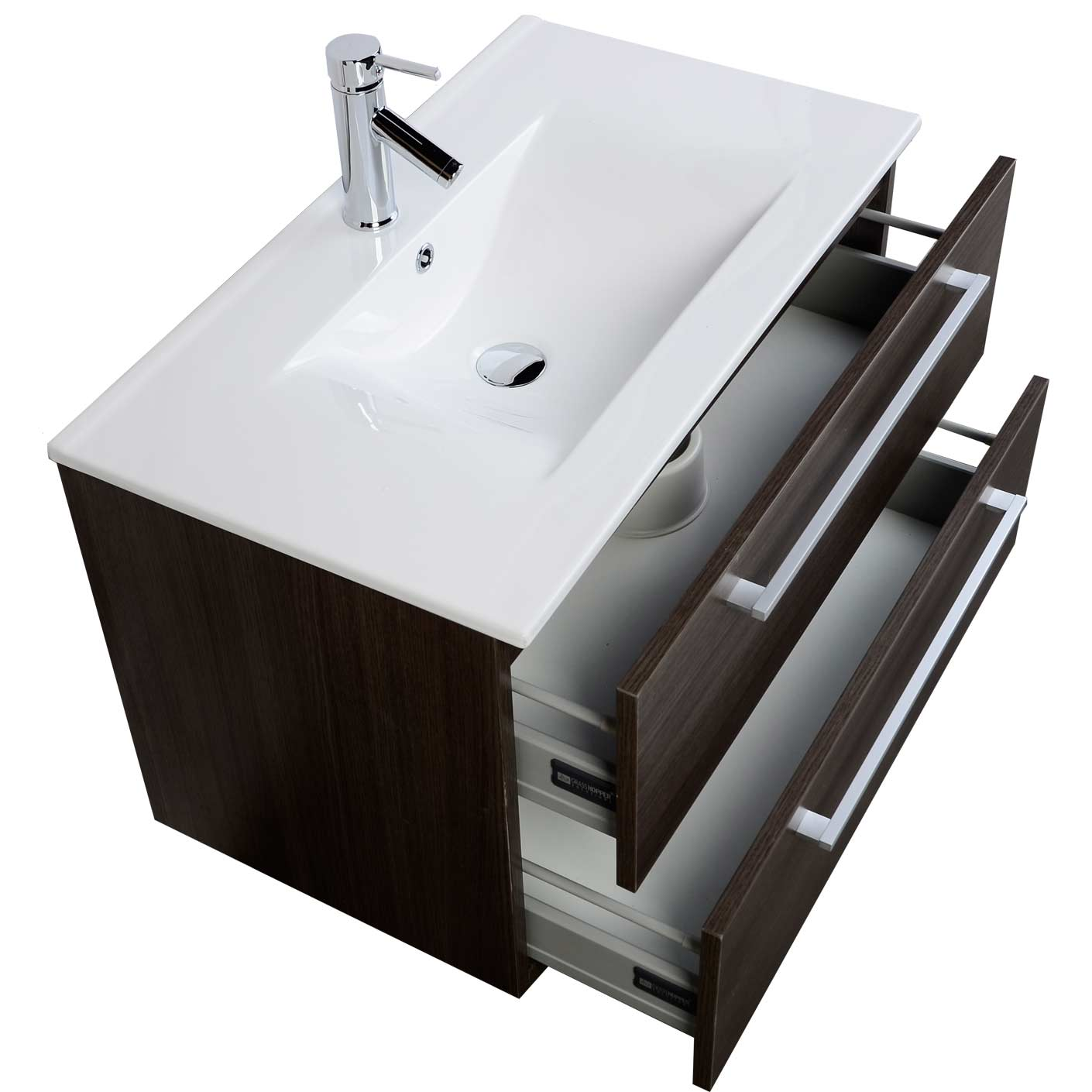 Modern Wall Mount Bathroom Vanity Cbi Grey Oak RS DM800 GO