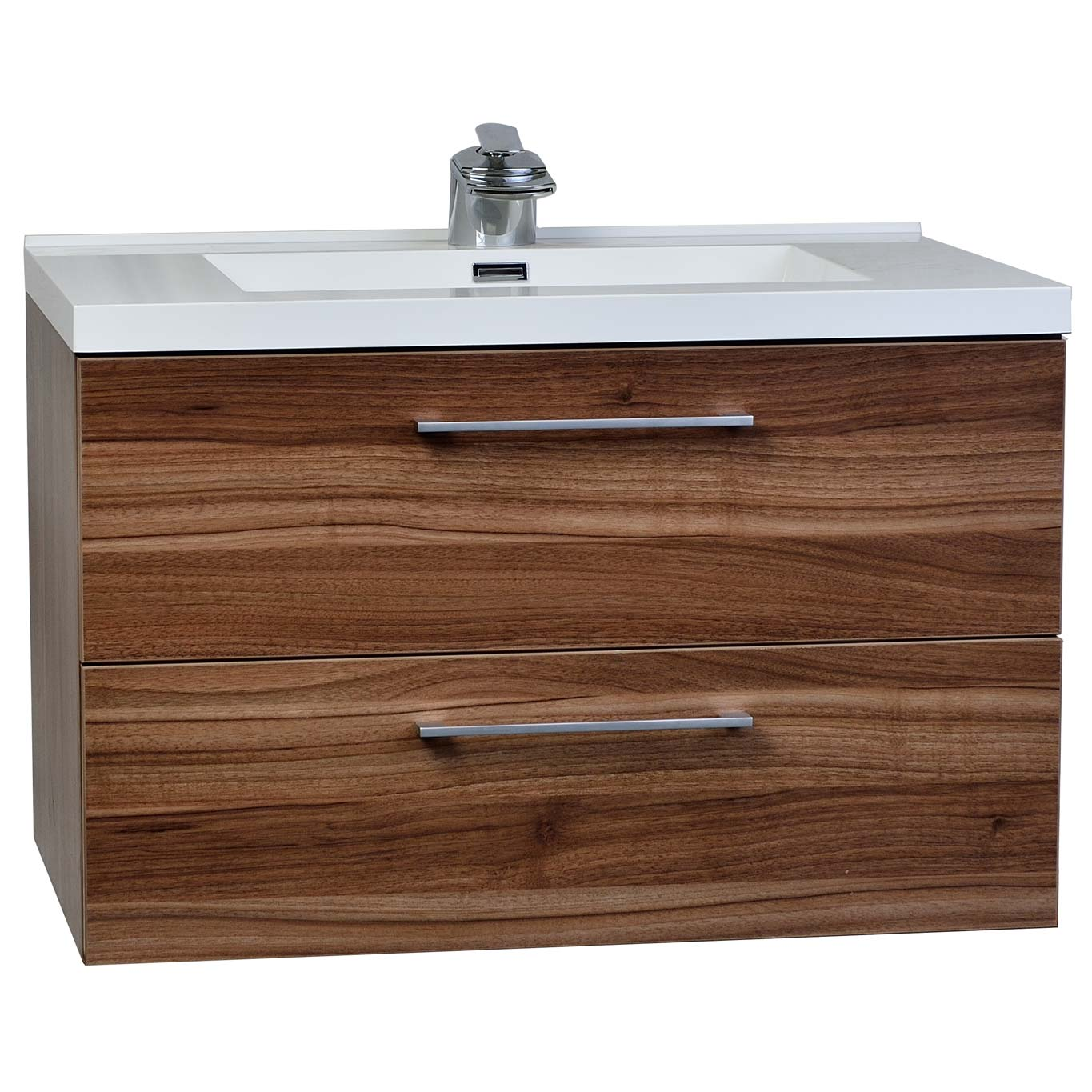 Buy 33.5 In. WallMount Contemporary Bathroom Vanity Set in Walnut TN